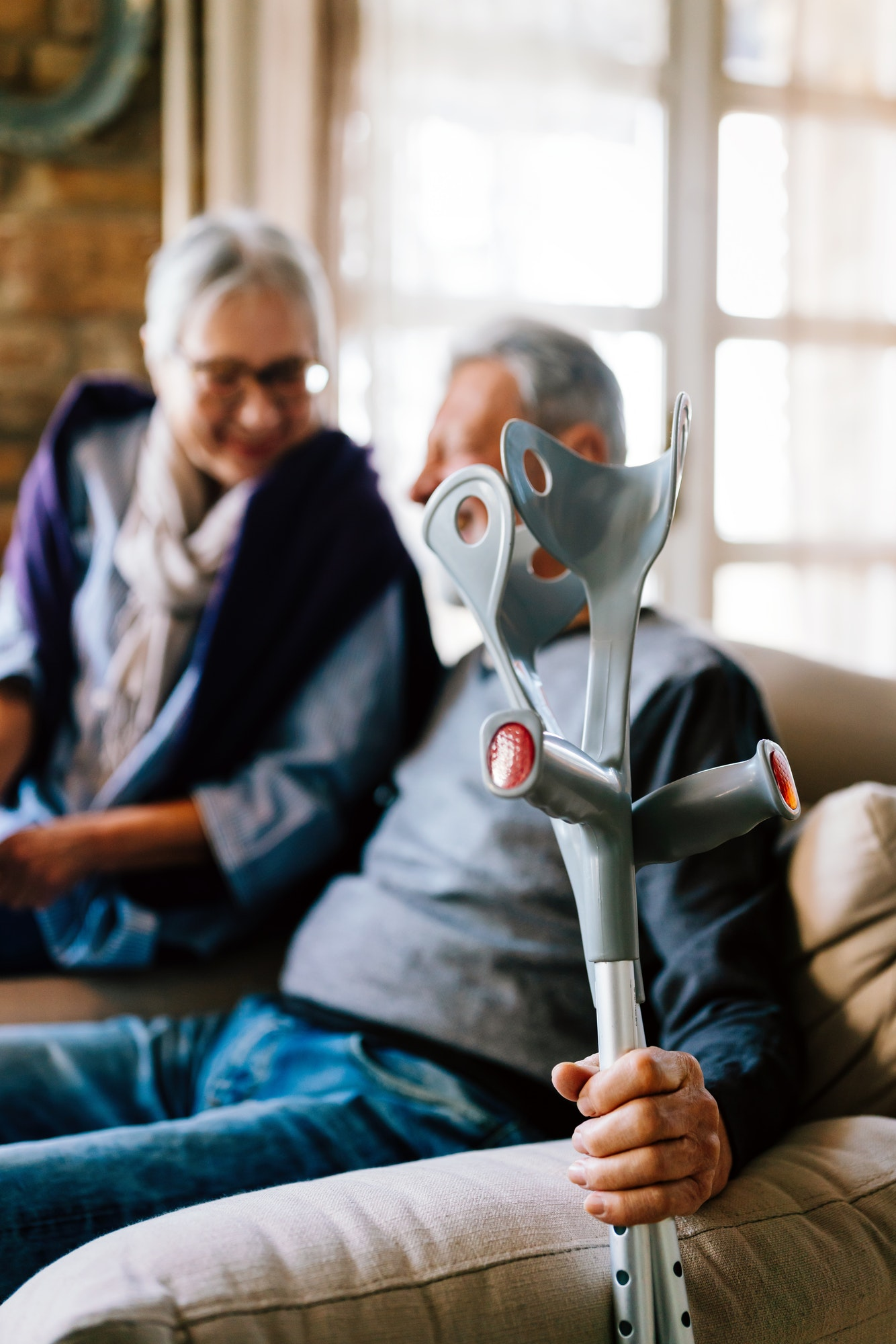 Happy senior retired couple at nursing home. Mature people healthcare love concept
